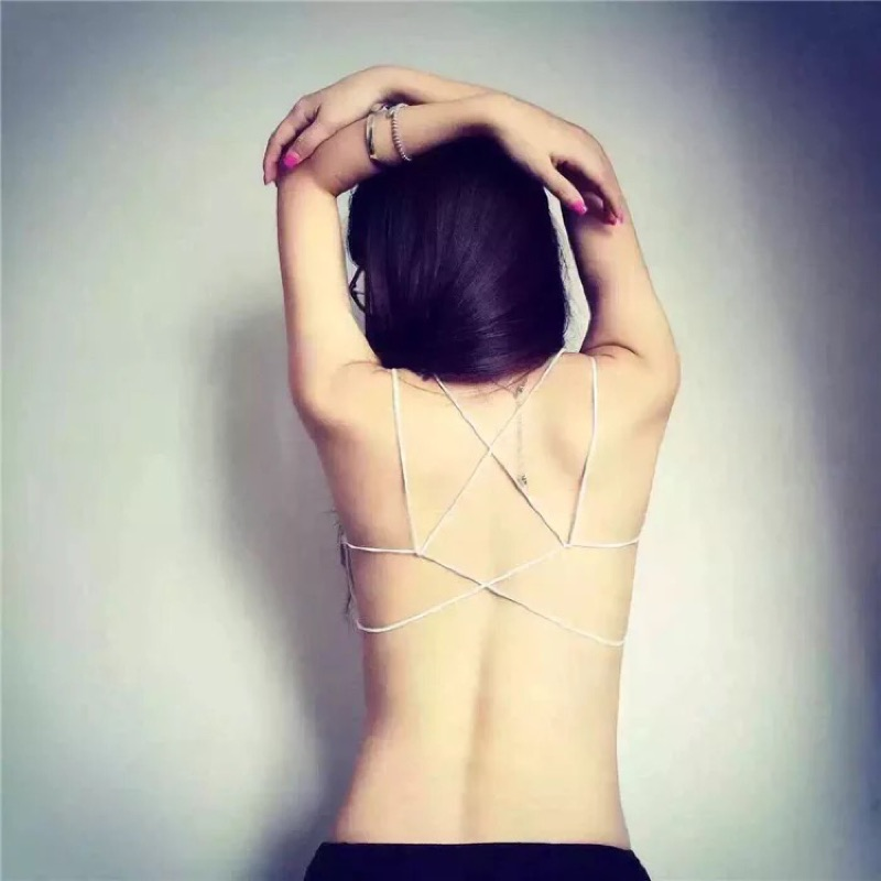 吊帶抹胸小背心背後交叉細繩美背性感打底露背內衣裹胸