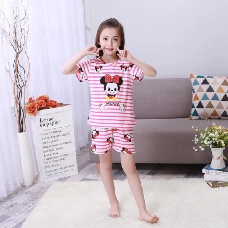 兒童睡衣短袖卡通睡衣小孩男孩女孩中大童家居服套裝