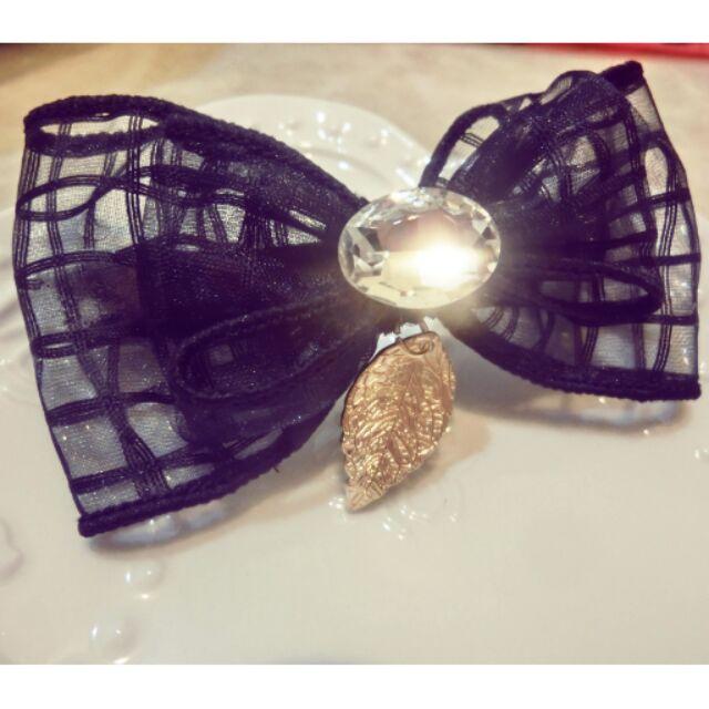 髮夾Rainiedream 韓國 黑色網格緞帶寶石葉子髮圈 款只有一個欲購從速哦!_