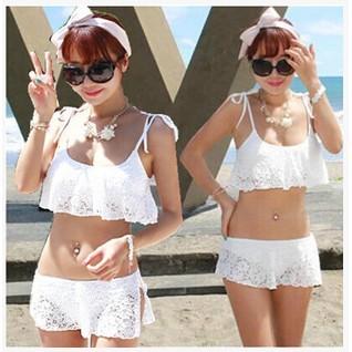 韓國版泳裝純白色鏤空印花蕾絲分體游泳衣女溫泉荷葉邊裙式比基尼