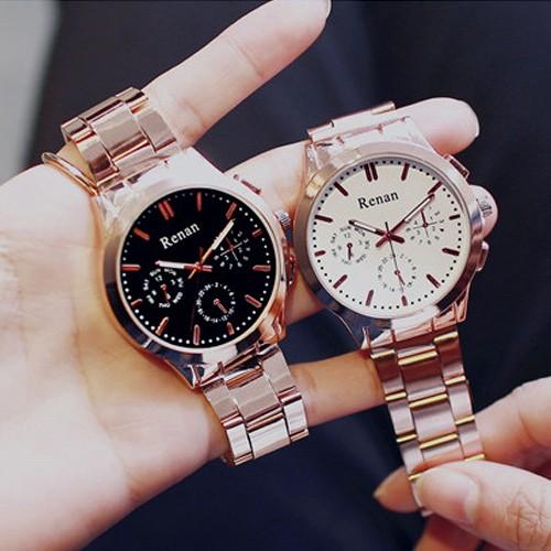 W058 韓國玫瑰金復古鋼帶 石英 潮流休閒簡約男錶對錶女錶手錶皮帶手表