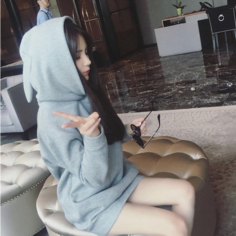 流光溢彩日韓 3 号秋裝 女裝 中長款學生寬松套頭加絨兔子耳朵連帽衛衣上衣女