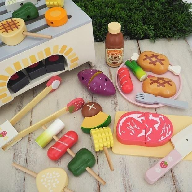 Mother Garden 家家酒木製廚房仿真玩具歡樂野餐BBQ 烤肉燒烤串燒牛排野餐組切