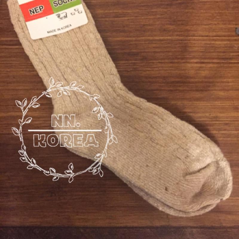 正韓襪子羊毛保暖中長坑條彈性厚 korea