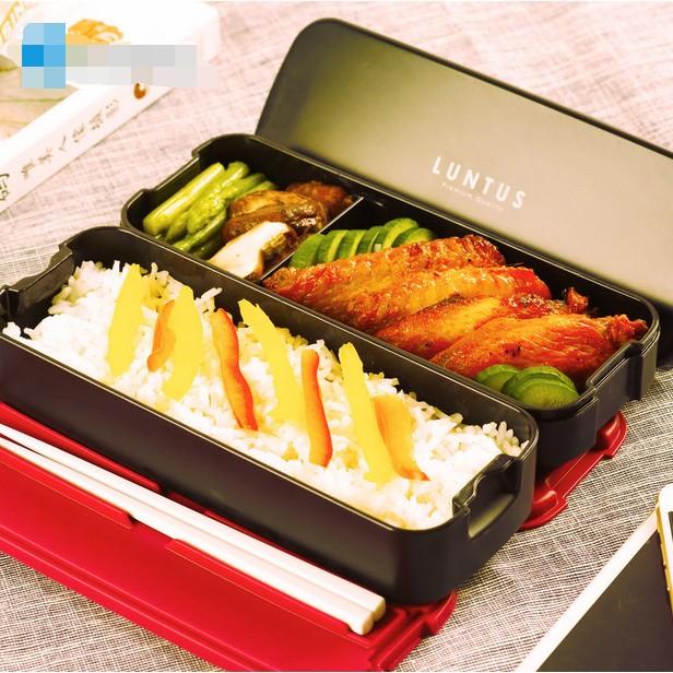 ASVEL 飯盒雙層分格塑膠可微波爐學生帶午餐壽司日式便當盒