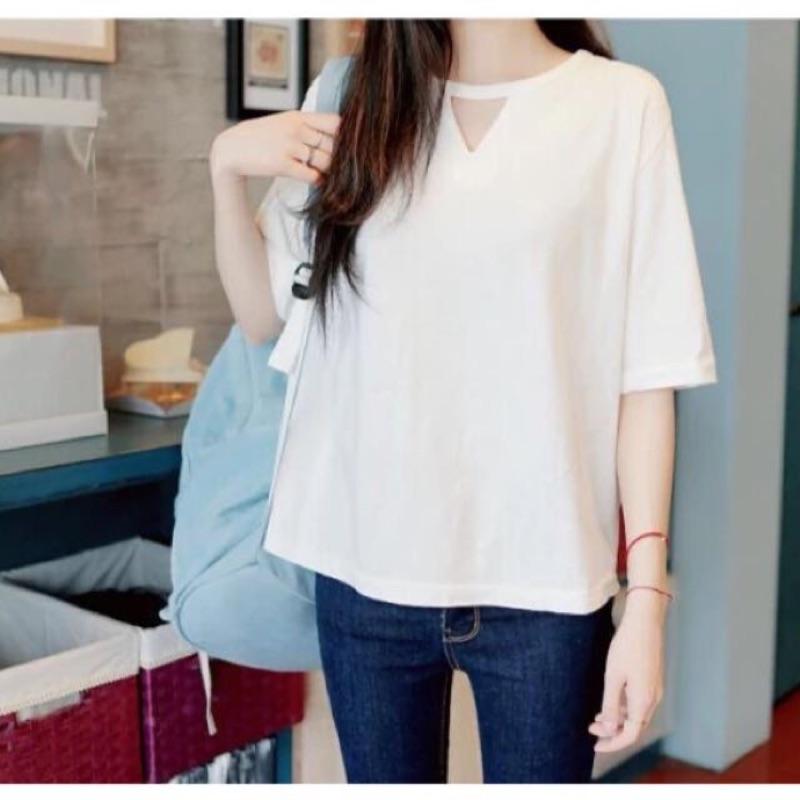 原宿風小三角形鏤空簡約寬鬆短袖T 恤