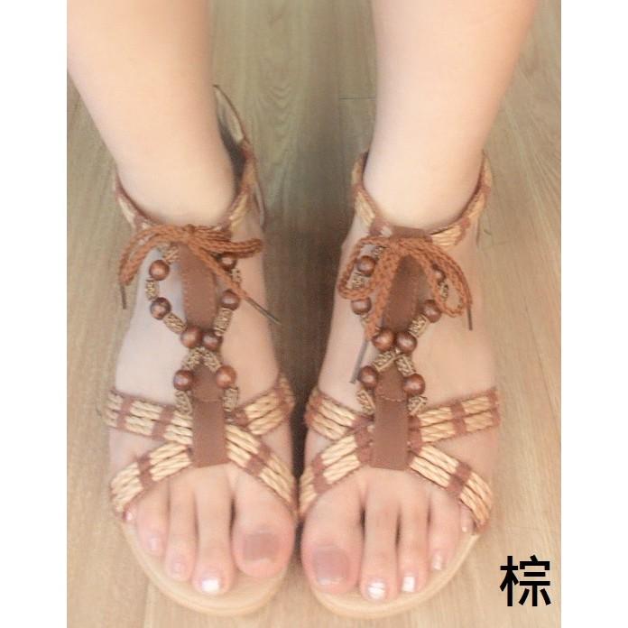 涼鞋民族風編織串珠 後拉鍊 低楔型涼鞋黑棕Girl 鞋坊~編號A 8 ~