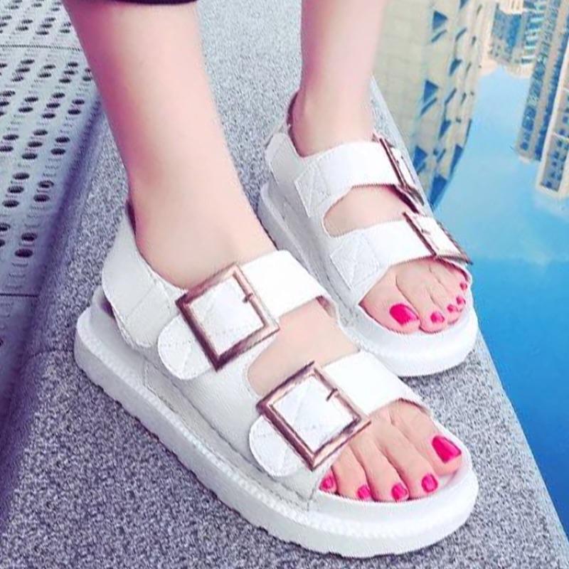 百搭寬版金屬扣環厚底涼鞋~S1657 ~~kiyomi ~