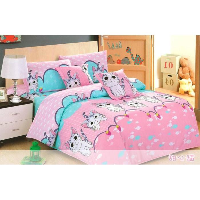~甜心貓~100 精梳純棉單人雙人加大特大薄床包薄被套鋪棉床包鋪棉兩用被