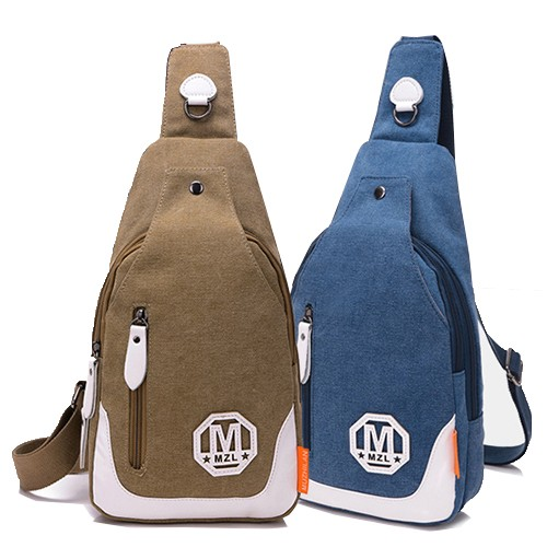 包飾衣院M 字母幾何英倫復古帆布胸包中性包戶外出行包斜背包J1077  附發票