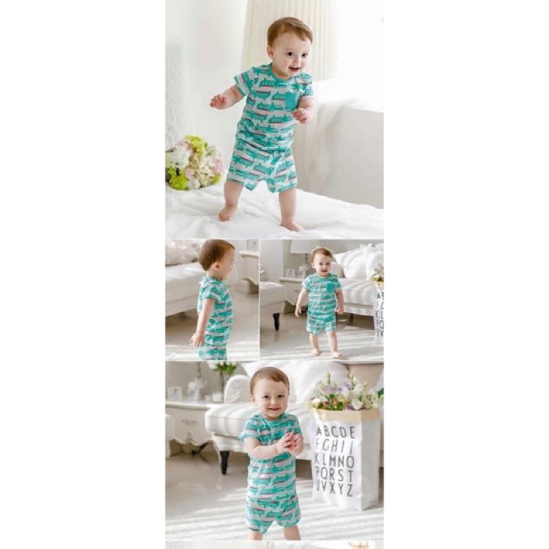 正韓男寶女寶男童女童可愛綠色鱷魚開扣上衣居家服