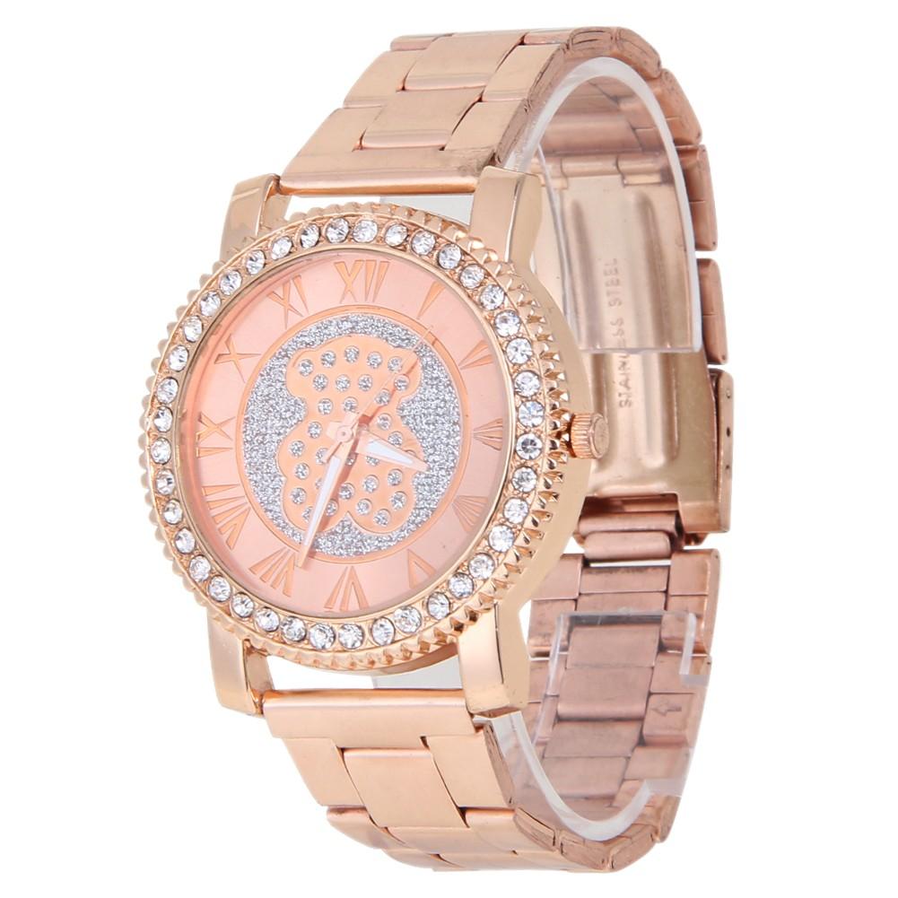 品牌水晶不銹鋼石英手錶