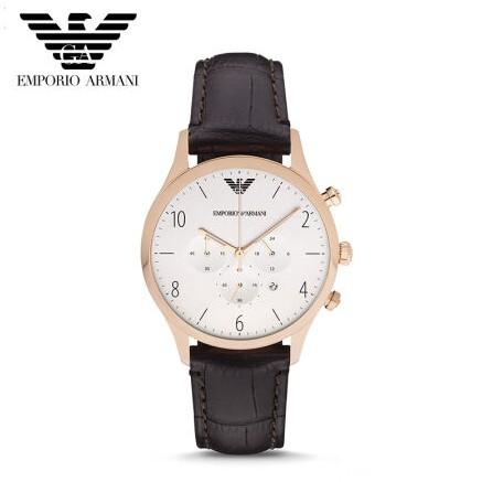 ~香港直郵~亞曼尼AR1916 都會洗鍊風格三眼計時腕錶白金43mm 正品Armani 手