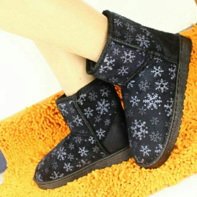 全面 雪靴 靴子保暖雪花漫步特別款內絨毛短筒雪靴