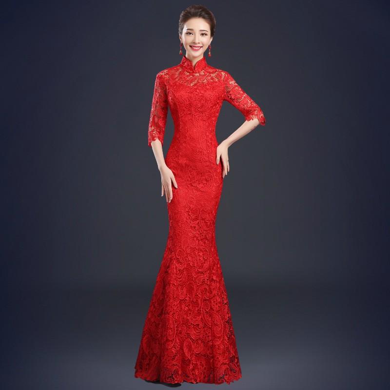 敬酒服新娘夏短款結婚旗袍裙中式禮服蕾絲修身紅色晚禮服敬酒禮服