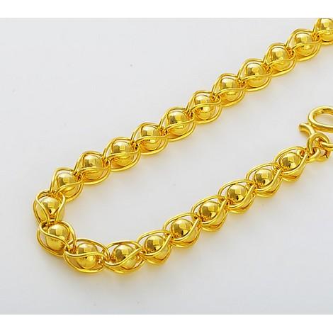 黃金項鏈男士款18k 黃金項鏈女光面佛珠雙龍頭項鏈黃金手鏈吊墜