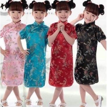 L018030 款織錦緞龍鳳小旗袍兒童女童唐裝旗袍小孩寶寶拍照旗袍禮服公主裙