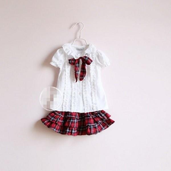 媽咪樂 學院風紅色格紋裙套裝白色襯衫短裙7 9