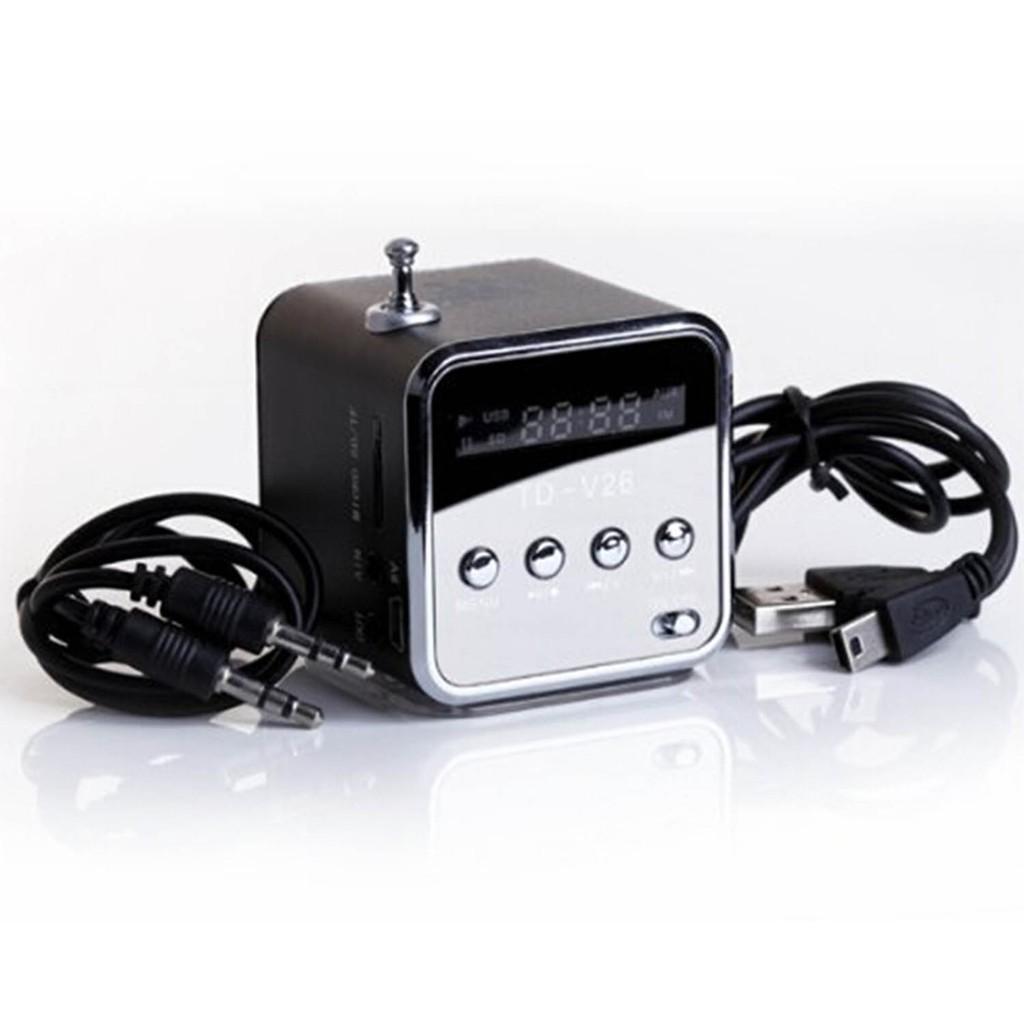 Micro SD TF U 盤黑色迷你便攜式立體聲揚聲器音樂播放器調頻收音機