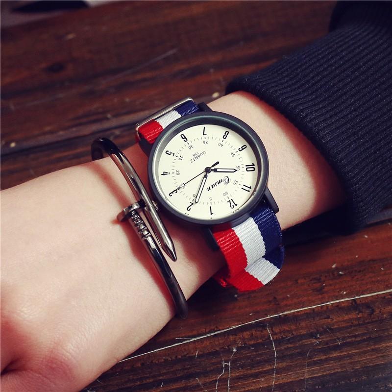英倫風尼龍條紋大圓錶~A B 兩款 ~