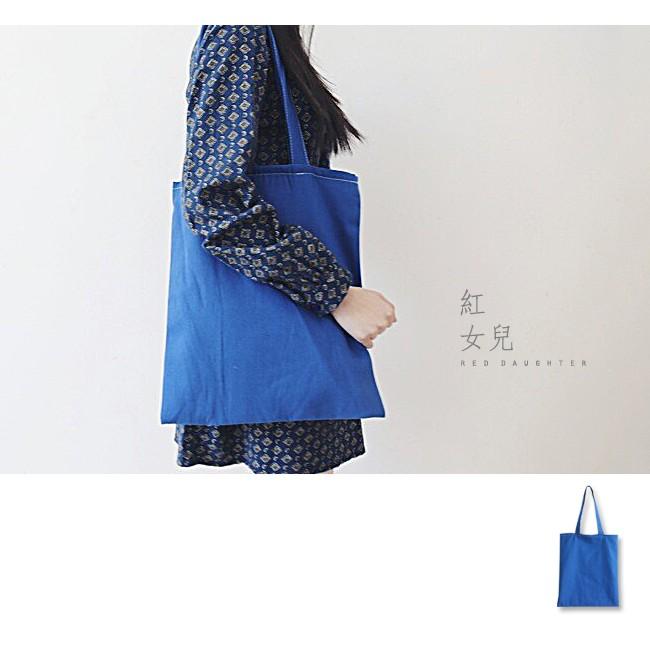 藍色車線布包拉鍊無拉鍊P607 紅女兒