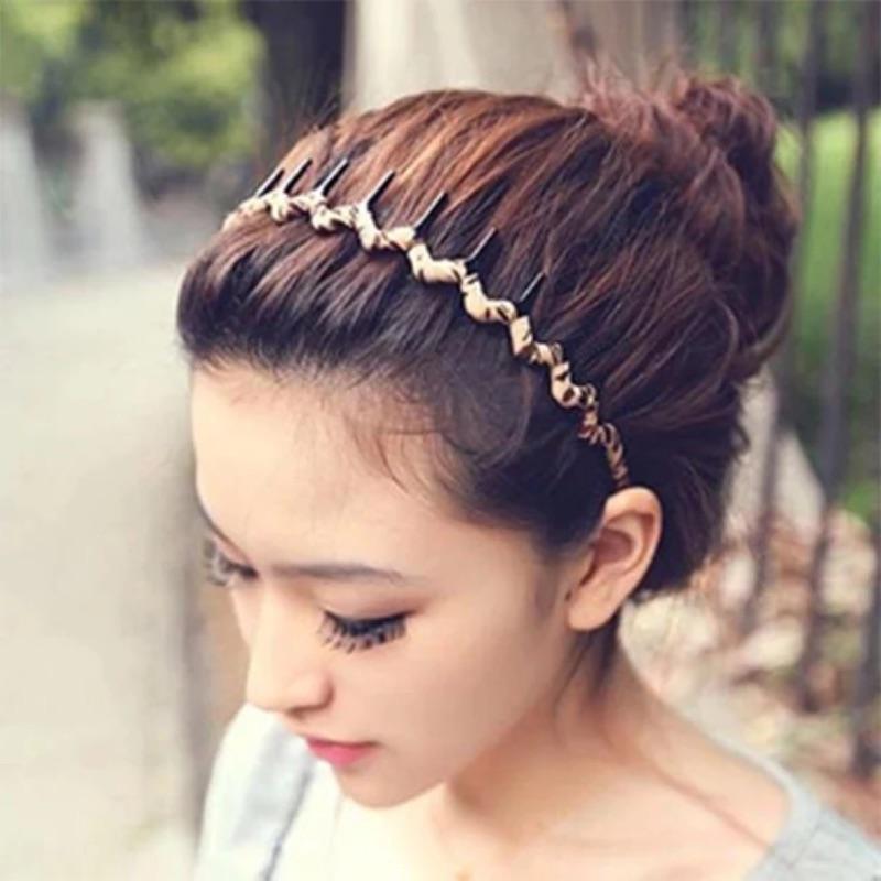 韓國氣質珍珠墜丸子頭髮飾豹紋帶齒波浪髮箍