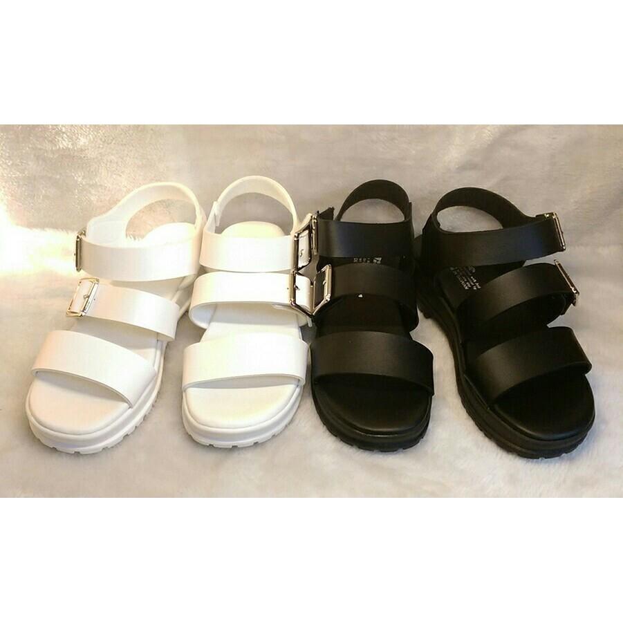 百搭厚底黑色白色涼鞋
