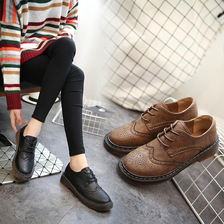 中跟小皮鞋女牛津鞋粗跟加絨英倫風女鞋松糕鞋學院風布洛克女單鞋