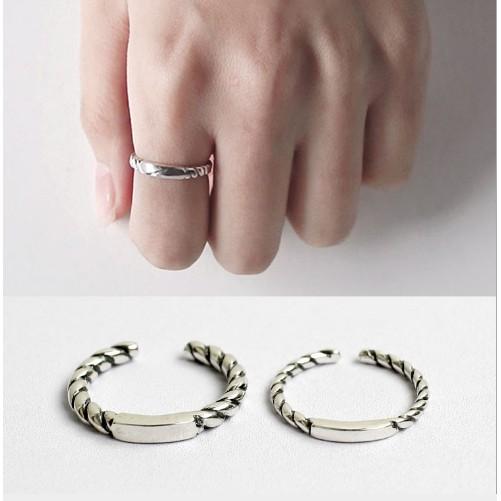 三件起拍可混拍 價包郵韓國 S925 純銀簡約復古泰銀麻花方條開口戒指指環