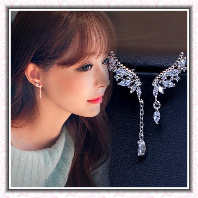 純銀不對稱翅膀耳環S925 鑲鑽流蘇耳針長款純銀耳針 水鑽 氣質耳飾耳釘飾品首飾✭蘋果鈴鐺