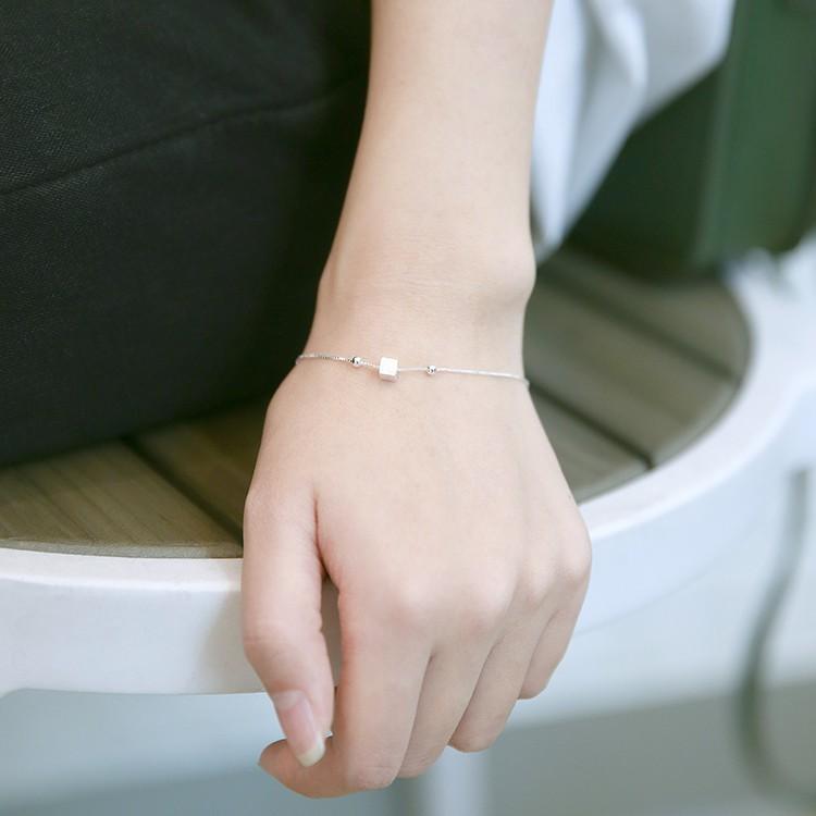 清新方塊手鏈女 s925 純銀日韓國甜美簡約百搭學生 生日森系