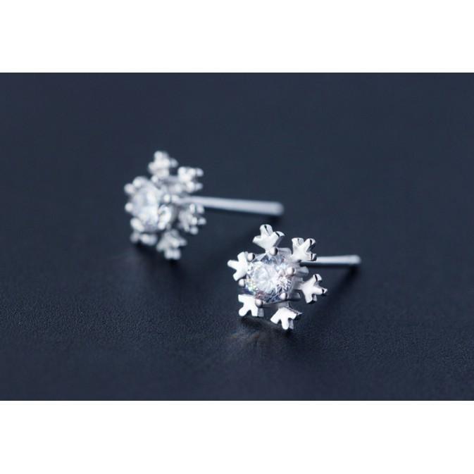 皇后銀飾雪花鑲鑽耳環甜美氣質耳針不過敏925 純銀E74