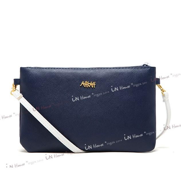 IN House 雜誌附錄AHKAH 可拆多 撞色藍白雙色側背包斜背包手拿包收納袋化妝包特