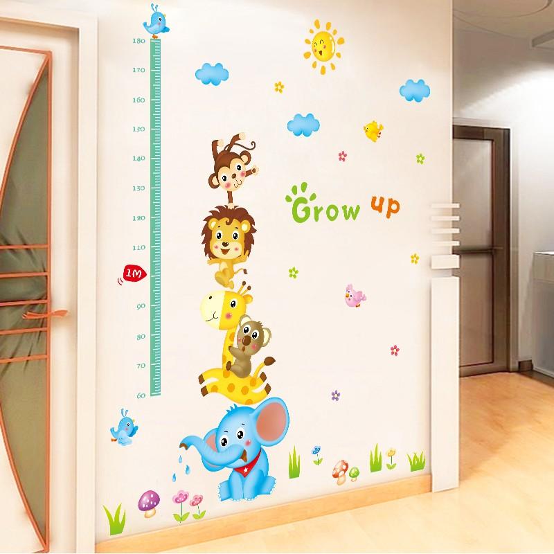 兒童房客廳卡通牆貼寶寶量身高尺牆面裝飾貼畫動物身高貼紙可移除