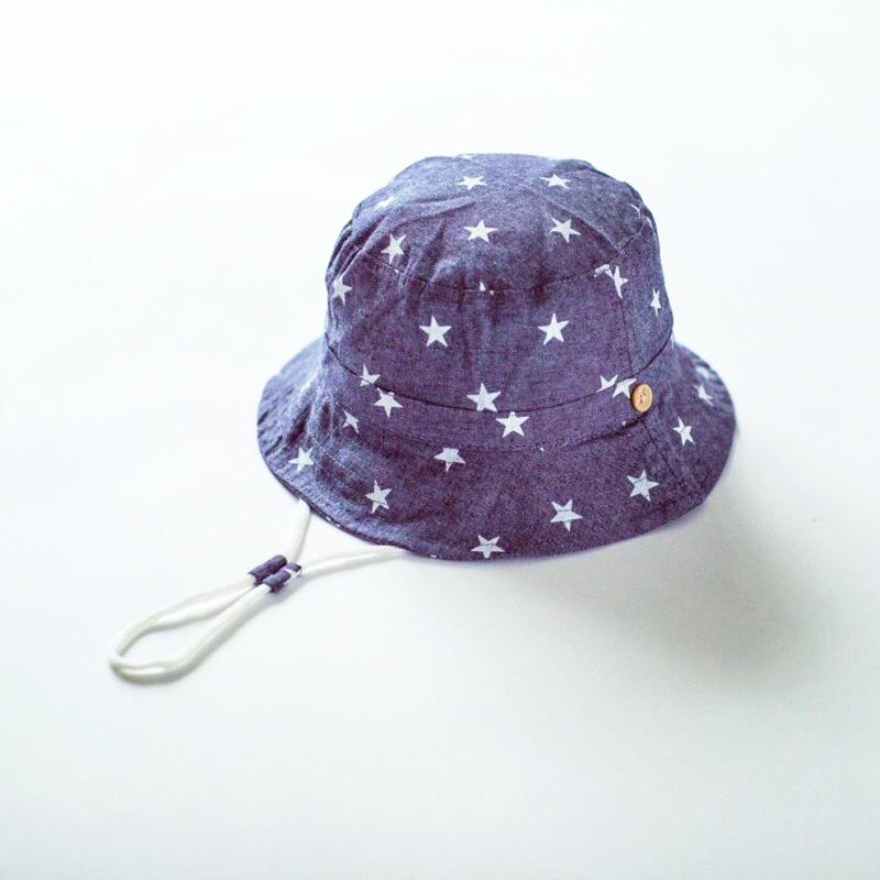 E mirreh 全棉牛仔星星印花兒童防曬遮陽帽