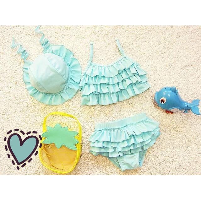 ❤️媽咪愛敗家❤️藍色荷葉邊兒童連身泳衣嬰兒泳衣兒童泳裝嬰兒泳裝玩水溫泉