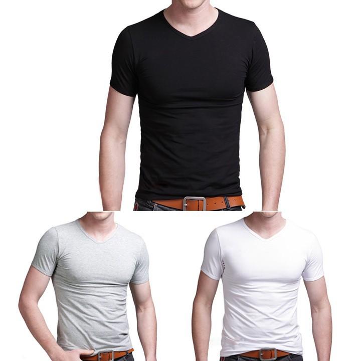 男式修身短袖V 領T 恤襯衫