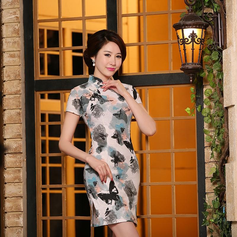 春夏 民族風女裝棉麻修身旗袍裙 改良復古短款亞麻旗袍