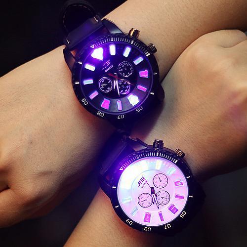 W019 韓國 潮流休閒超炫夜光發光大錶盤原宿 情侶男錶對錶女錶學生手錶皮帶