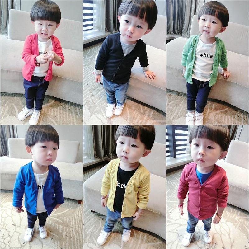 秋裝男女童 外套小童寶寶嬰幼兒百搭純色針織開衫01 2 3 歲