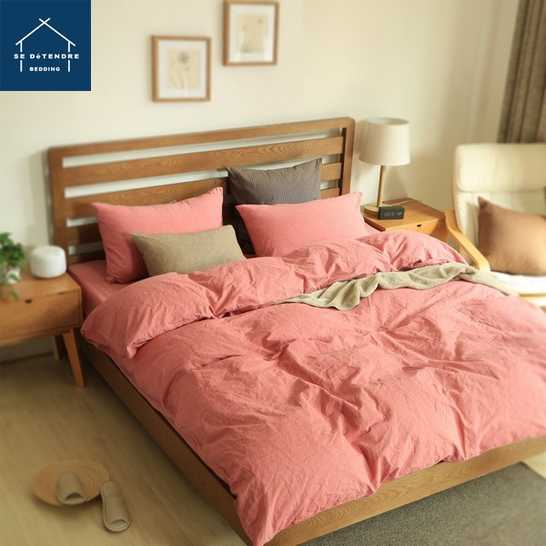 ~SE D éTENDRE ~水洗棉素面嫣紅色雙人床床單4 件組床包棉被套枕頭套同無印良品