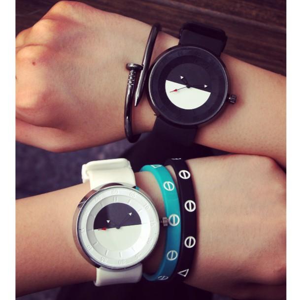 潮人黑白簡約 原宿男錶韓國復古潮流 女錶中性學生情侶手錶