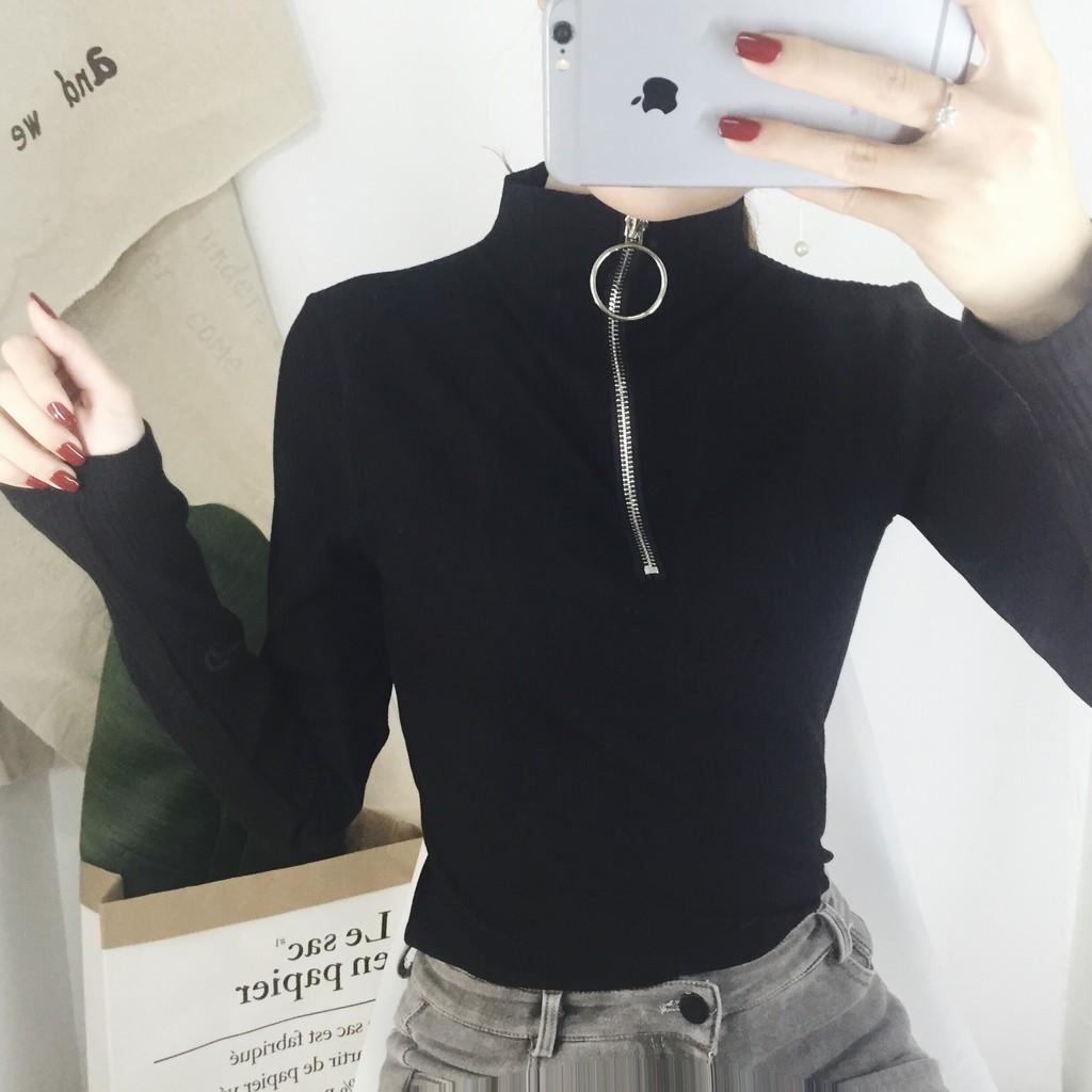 韓國原宿圓環拉鍊高領顯瘦黑色長袖