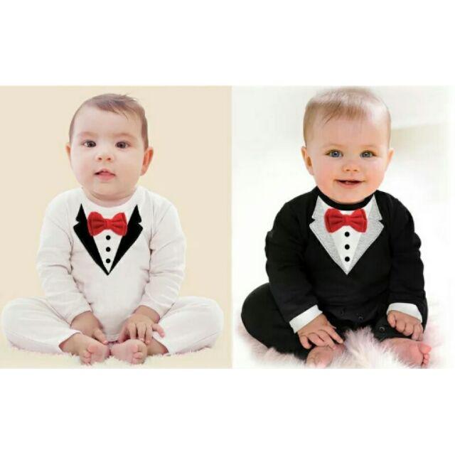 帥氣小紳士✔長袖領結寶寶禮服連身衣 款
