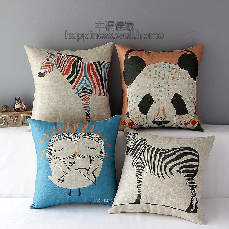 zakka 動物普普風貓熊斑馬貓頭鷹厚棉麻抱枕抱枕套不含枕芯小枕頭枕心靠墊卡通黑白彩色點點