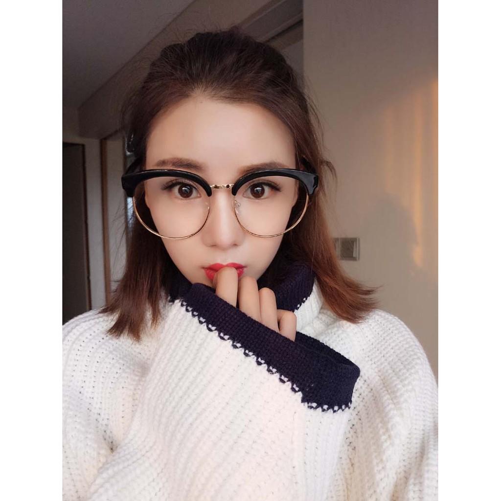 199 元 加大眼鏡顯瘦學生眼鏡框復古素顏平光鏡圓形半框眼鏡架