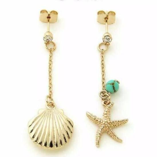海星貝殼~金色耳環耳針