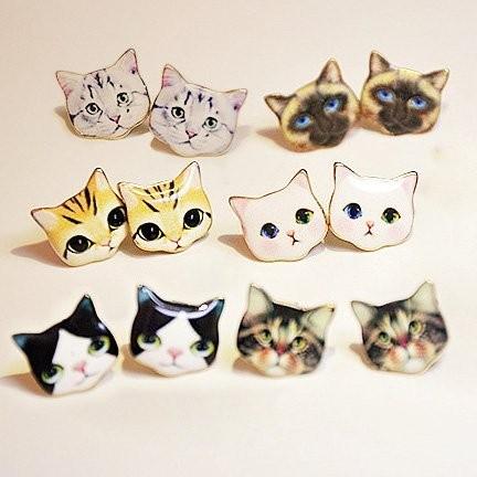 韓國直郵原單喵星人可爱甜美貓貓卡通小動物耳釘防過敏防 東大門 耳釘—粉白貓貓款