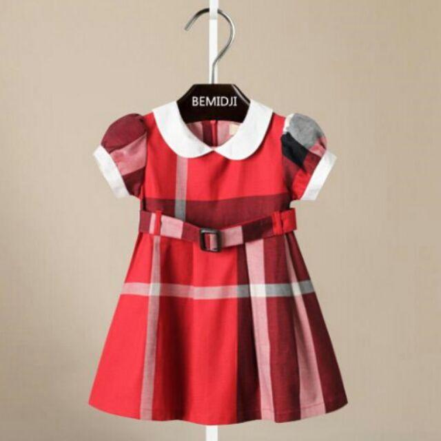百元 ❤ ❤白領公主袖腰帶格紋洋裝紅格