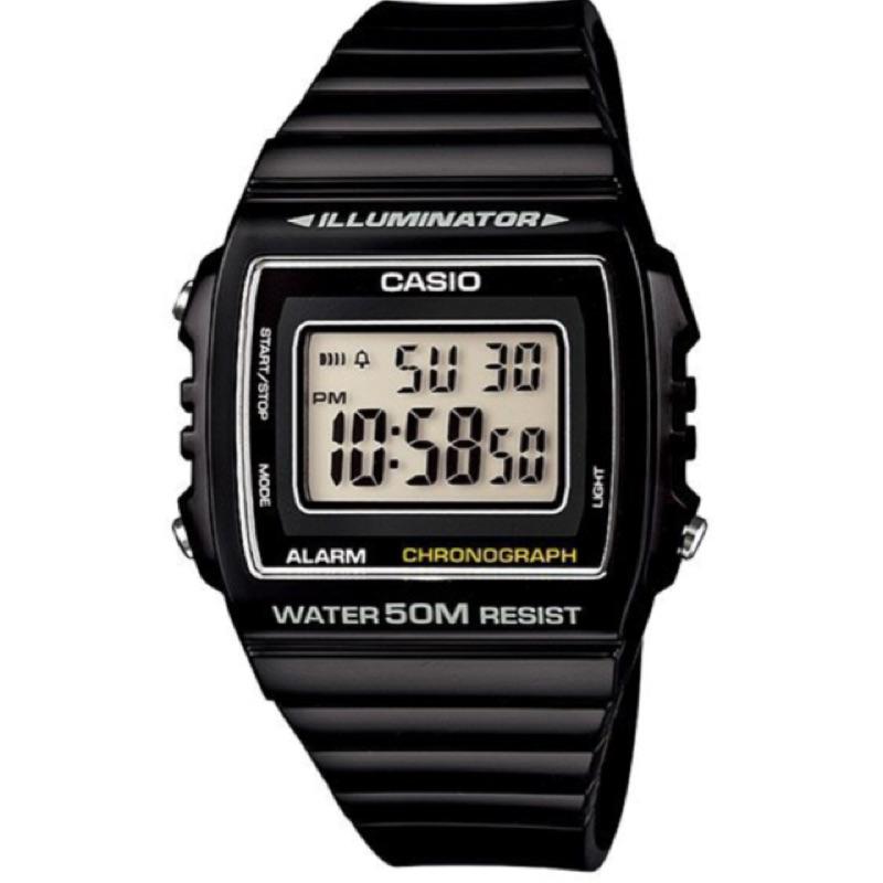 CASIO 卡西歐方形數字錶大型的液晶錶面防水50 米LED 背光照明W 215H 1A